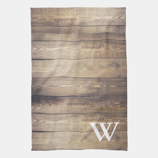 Farmhouse Light Barn Wood Planks Monogram Towel