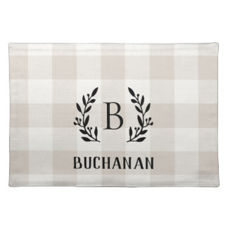 Farmhouse Linen Buffalo Check Family Monogram Placemat