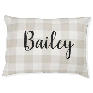 Farmhouse Linen Buffalo Check Monogram Dog Bed