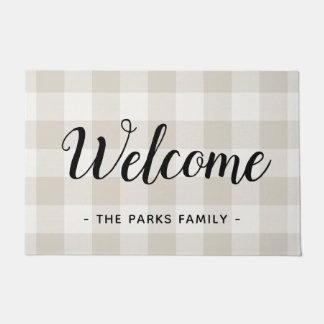 Farmhouse Linen Buffalo Check Monogram Doormat