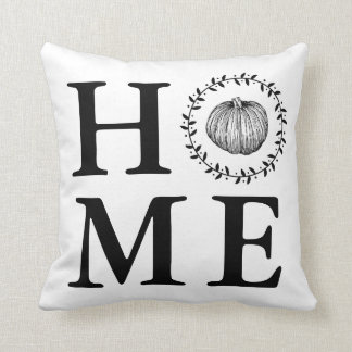 Farmhouse Pumpkin Wreath Home Throw Pillow