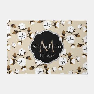 Farmhouse Rustic Cotton Flowers & Family Name Doormat