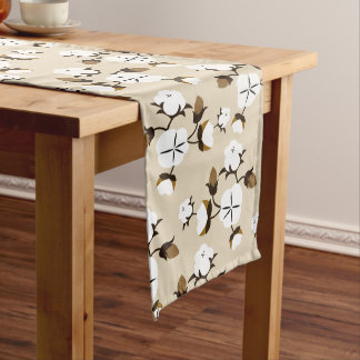 Farmhouse Rustic Cotton Flowers Long Table Runner