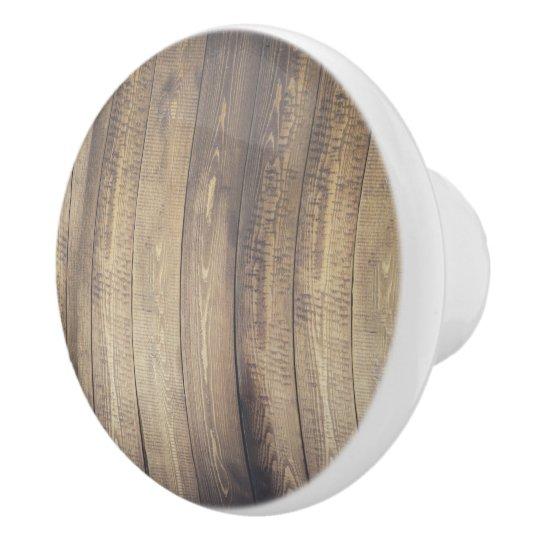 Farmhouse Rustic Country Wood Planks Ceramic Knob