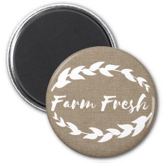Farmhouse Rustic Farm Fresh Laurels Faux Burlap Magnet