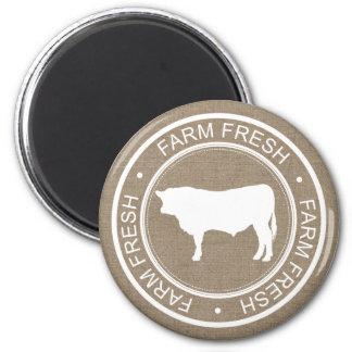 Farmhouse Rustic Farm Fresh White Bull Faux Burlap Magnet