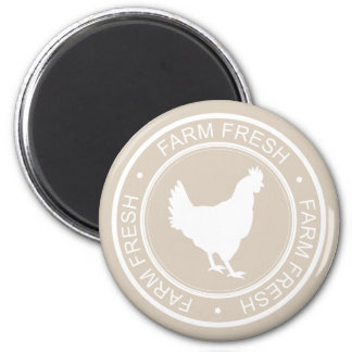 Farmhouse Rustic Farm Fresh White Hen on Taupe 2 Inch Round Magnet
