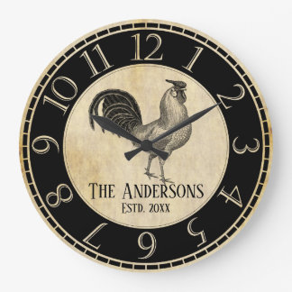 Farmhouse Rustic Rooster Vintage Family Business Large Clock