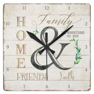 Farmhouse Shiplap Wood Home Friends Family Name Square Wall Clock