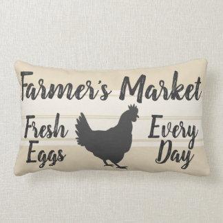 Farmhouse Style   Farmer's Market Fresh Eggs Hen Lumbar Pillow