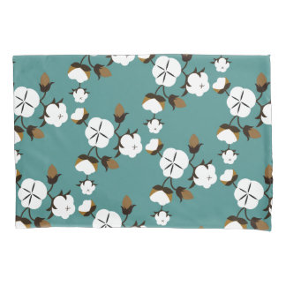 Farmhouse Style Modern Cotton Flowers & Teal Pillowcase