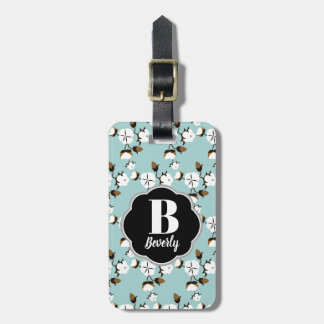 Farmhouse Style Rustic Cotton Flowers & Teal Luggage Tag