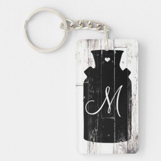Farmhouse White Wood Rustic Milk Jug Monogram Keychain