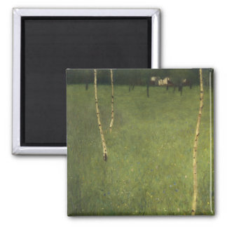Farmhouse with Birch Trees, 1900 Square Magnet