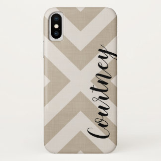 Farmhouse X Beige Linen Monogram iPhone X Case