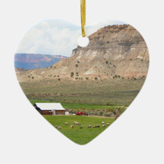 Farming country and hills, southern Utah Ceramic Ornament