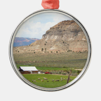 Farming country and hills, southern Utah Metal Ornament