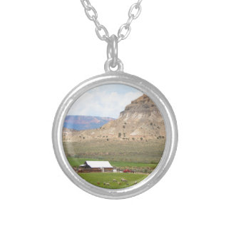 Farming country and hills, southern Utah Silver Plated Necklace