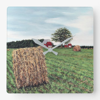 Farming Hay Bales Wall Clock