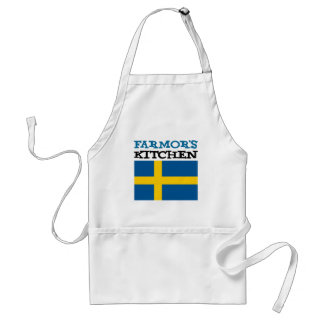 Farmor's Kitchen Featuring The Flag Of Sweden Standard Apron