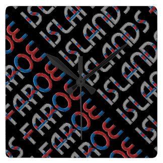 Faroe Islands Denmark Flag Colors Typography Wallclocks
