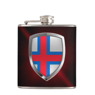 Faroe Islands  Metallic Emblem Hip Flask