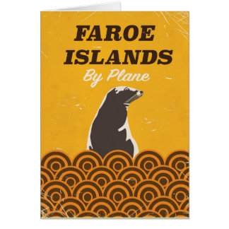Faroe islands vintage travel poster card