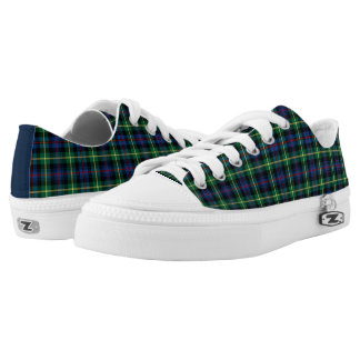 Farquharson Clan Blue and Green Tartan Canvas Low-Top Sneakers