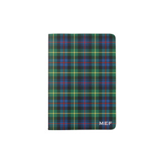Farquharson Clan Blue and Green Tartan Monogram Passport Holder