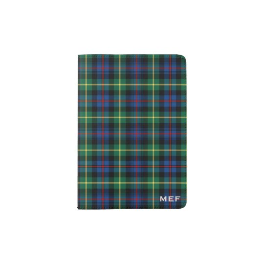 Farquharson Clan Blue and Green Tartan Monogram Passport Holder