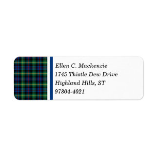 Farquharson Clan Bright Blue and Green Tartan Return Address Label