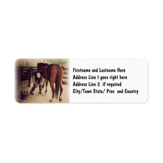 Farrier - Beautiful Horse Photo Hoof Trim Return Address Label