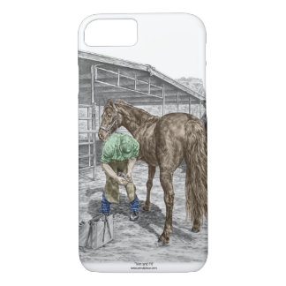 Farrier Blacksmith Trimming Horse Hoof iPhone 7 Case