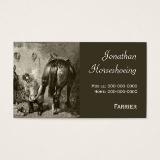Farrier fitting a hot shoe business card