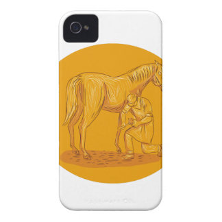Farrier Placing Shoe on Horse Hoof Circle Drawing Case-Mate iPhone 4 Cases