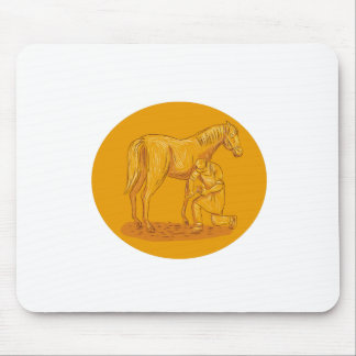 Farrier Placing Shoe on Horse Hoof Circle Drawing Mouse Pad
