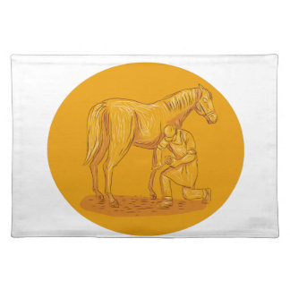 Farrier Placing Shoe on Horse Hoof Circle Drawing Placemat