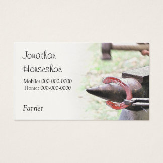 Farrier red hot horseshoe business card