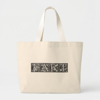 FART Fancy Lettering Funny Humor Crude Joke Large Tote Bag