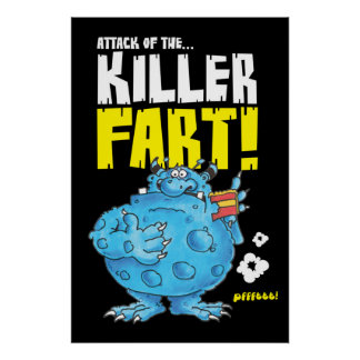 fart monster black poster
