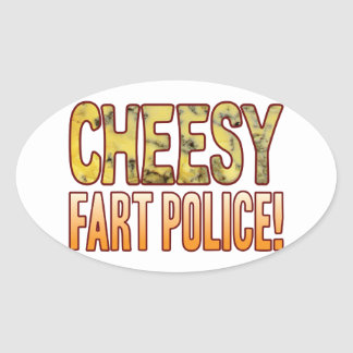 Fart Police Blue Cheesy Oval Sticker