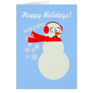 Farting Snowman Cartoon Card