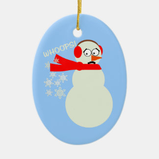 Farting Snowman Cartoon Ceramic Ornament