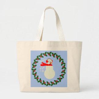 Farting Snowman Cartoon Jumbo Tote Bag