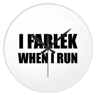 Fartlek When Run Black Large Clock