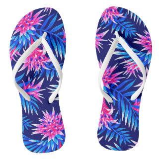 Fasciata Tropical - Mid Blue / Pink Flip Flops