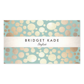 Fashion and Beauty Gold Turquoise Spotted Pattern Pack Of Standard Business Cards
