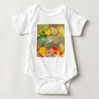 Fashion and hats with flowers baby bodysuit