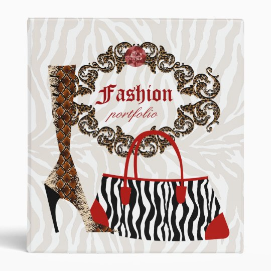 Fashion Binder Portfolio Zebra Purse Leather Boot