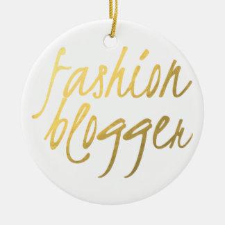 Fashion Blogger - Gold Script Round Ceramic Ornament